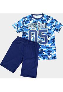 Pijama Infantil Kyly Camuflado Brilha No Escuro Masculino - Masculino