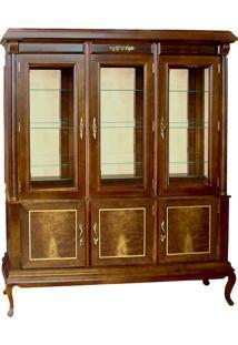 Cristaleira Lucca Vitrine 3 Portas Personalizado Madeira Maciça Detalhe Em Marchetaria Design Clássico