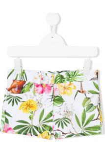Monnalisa Shorts Com Estampa Tropical - Branco