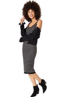 Vestido Alça Tricot