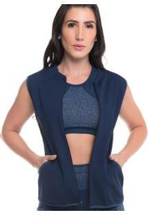 Colete Com Proteção Solar Stripes Bluish Sandy Fitness - Feminino-Marinho