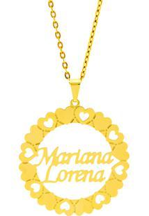 Gargantilha Mandala Horus Import Manuscrito Mariana Lorena Banho Ouro Amarelo 18 K - 1060202