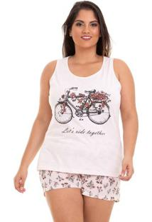 Short Doll Plus Size Regata De Bicicleta Feminino Em Algodão Luna Cuore