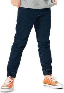 Calça Azul Escuro Jogging Moletom Jeans