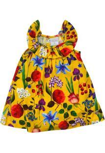 Vestido Com Alças - Floral - 100% Algodão - Amarelo - Tilly Baby - Gg