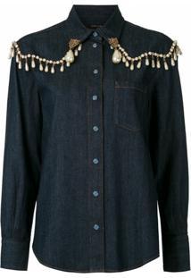 Dolce & Gabbana Jaqueta Jeans Com Aplicações - Azul