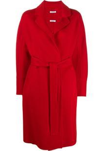 P.A.R.O.S.H. Casaco Midi Com Cinto - Vermelho