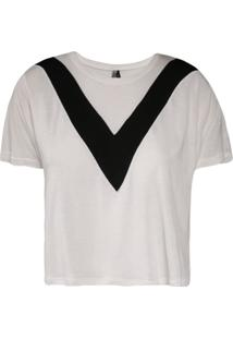 Camiseta Khelf Cropped V Off White/Preto