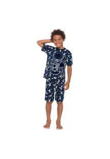 Pijama Infantil Menino Camiseta + Bermuda Kyly Marinho