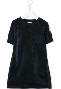 Moncler Kids Vestido Com Contraste - Azul