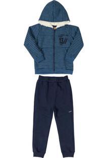 Conjunto Jaqueta Estampada E Calça Azul