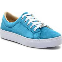 Tênis Antonio´S Shoes Flatform Veludo Feminino - Feminino-Azul Turquesa fa1fe1a2aafa4