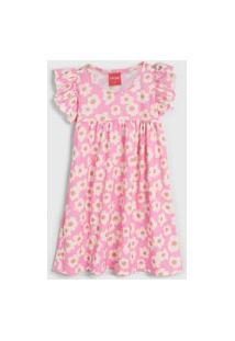 Vestido Manga Curta Tricae Infantil Floral Rosa/Branco