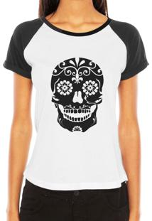 Camiseta Raglan Criativa Urbana Caveira Mexicana Florida Flores No Queixo Tribal Tattoo - Tricae