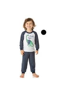 Pijama Duzizo Manga Longa Listrado Em Malha Branco