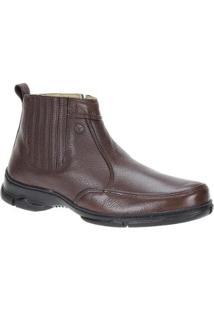 Bota Couro Zíper Urbana Boots Masculina - Masculino-Marrom
