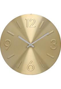 Relógio De Parede Em Alumínio Redondo Mapa 30Cm Dourado