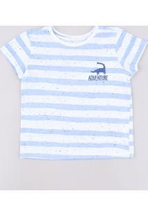 Camiseta Infantil Listrada Com Bordado De Dinossauro Manga Curta Off White