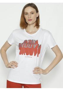 "Camiseta ""Stay Groovy""- Branca & Vermelha- Sommersommer"