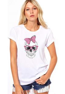 Camiseta Coolest Caveira Laço Branco