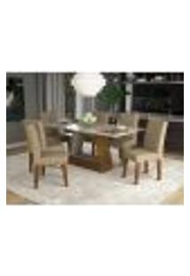 Conjunto De Mesa De Jantar Retangular Alana Com Vidro E 6 Cadeiras Milena Suede Bege E Off White