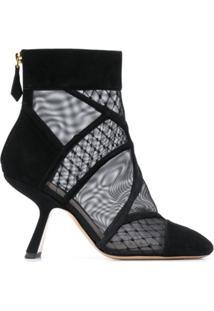 Nicholas Kirkwood Ankle Boot Com Tela 'Selina' - Preto