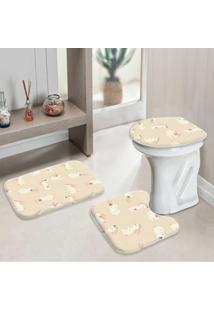 Jogo Tapetes Para Banheiro Cute Rabbits