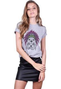 Camiseta Joss Estampada Dog Feminina - Feminino-Mescla