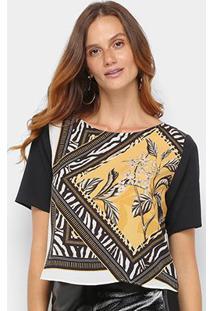 Camiseta Acostamento Floral Feminina - Feminino