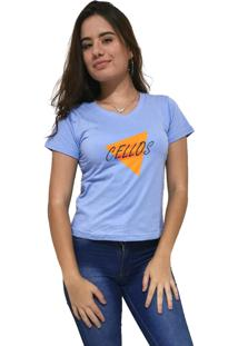 Camiseta Feminina Gola V Cellos Nacho Premium Azul Claro - Kanui