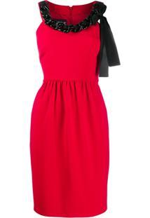 Boutique Moschino Chain-Embellished Crepe Dress - Vermelho