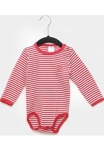 Body Bebê Pulla Bulla Manga Longa Listrado - Masculino-Vermelho