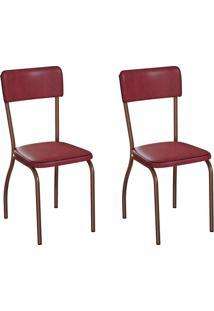 Conjunto Com 2 Cadeiras Nowra Vinho E Cobre