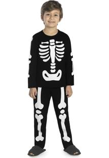 Pijama Masculino Esqueleto Preto