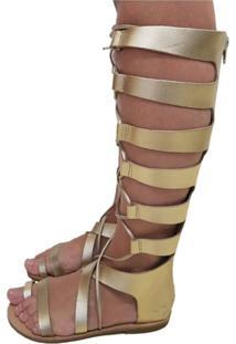 Sandália Gladiadora Sapatoweb Rasteira Couro Dourado
