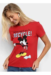 Camiseta Cativa Disney Mickey Recycle Feminina - Feminino-Vermelho Escuro