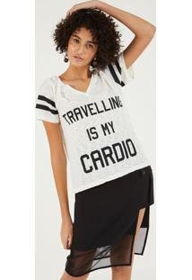 "Camiseta Em Flam㪠""Travelling Is My Cardio"" - Off White Pop Up"