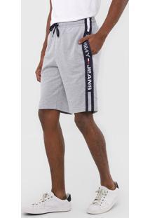 Bermuda Tommy Jeans Reta Logo Cinza