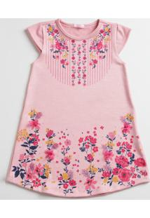 Vestido Infantil Estampa Floral Manga Curta Marisa