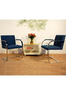 Cadeira Brno - Inox Linho Impermeabilizado Azul - Wk-Ast-34