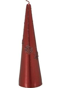 Vela Decorativa Em Relevo- Vermelha- 20Xã˜5,5Cm- Mabruk