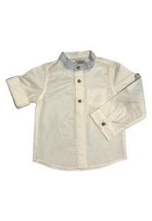 Camisa Manga Longa Branca Menino Infantil Mabu Denim