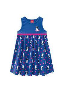 Vestido Infantil - Meia Malha - Cachorrinho - Azul - Kyly