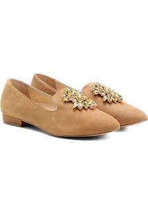 Mocassim Couro Shoestock Slipper Pedraria Feminino - Feminino-Bege