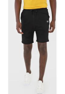 Bermuda Calvin Klein Jeans Reta Bordado Preta