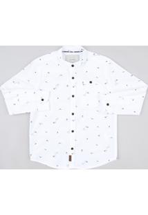 Camisa Infantil Mini Print Com Bolso Manga Longa Gola Padre Branca