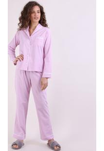Pijama Feminino Listrado Manga Longa Rosa