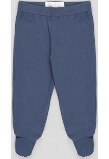 Calça Infantil Básica Com Pezinho Azul Marinho