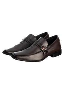 Sapato Social Masculino Elástico Conforto Elegante Liso Marrom Escuro 39 Marrom