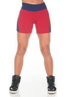 Short Fitness Dily Coração Feminino - Feminino-Vermelho+Azul